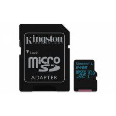 Kingston Canvas Go! - Tarjeta de memoria flash (adaptador microSDXC a SD Incluido) - 64