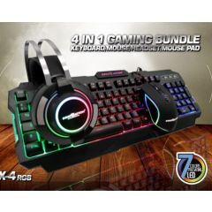 COMBO INNOVATION X4, 4 EN 1, PAD MOUSE, MOUSE, TECLADO, AUDIFONO GAMING RGB, INV-X4 RGB